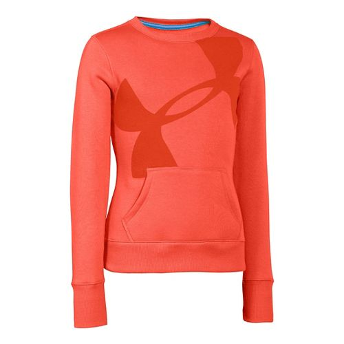 Kids Under Armour Girls Rival Cotton Crew Long Sleeve No Zip Technical Tops - Fire ...
