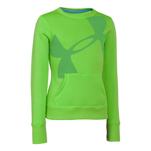 Kids Under Armour Girls Rival Cotton Crew Long Sleeve No Zip Technical Tops - Gecko ...