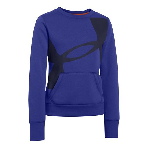 Kids Under Armour Girls Rival Cotton Crew Long Sleeve No Zip Technical Tops - Siberian ...