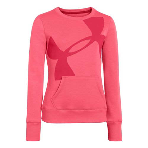 Kids Under Armour Girls Rival Cotton Crew Long Sleeve No Zip Technical Tops - Success ...