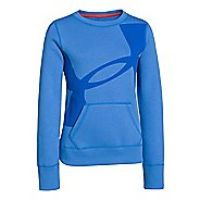 Kids Under Armour Girls Rival Cotton Crew Long Sleeve No Zip Technical Tops