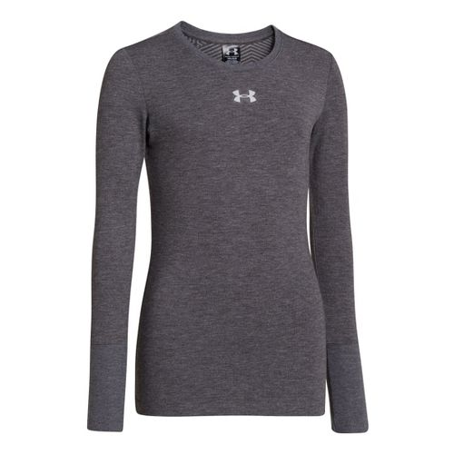 Kids Under Armour Girls Coldgear Infared Crew Long Sleeve No Zip Technical Tops - Carbon ...