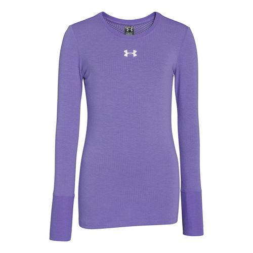 Kids Under Armour Girls Coldgear Infared Crew Long Sleeve No Zip Technical Tops - Flax ...