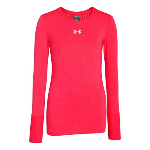 Kids Under Armour Girls Coldgear Infared Crew Long Sleeve No Zip Technical Tops - Neo ...
