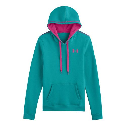 Womens Under Armour Rival Cotton Hoody Warm-Up Hooded Jackets - Aqueduct L