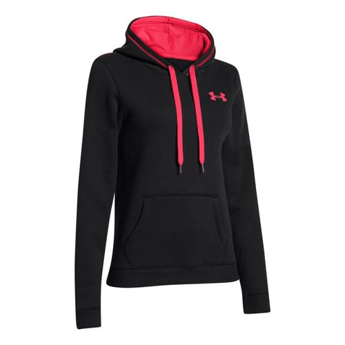 Womens Under Armour Rival Cotton Hoody Warm-Up Hooded Jackets - Black/Neo Pulse S