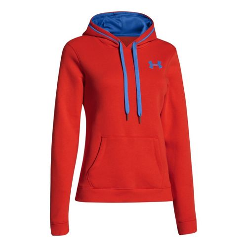 Womens Under Armour Rival Cotton Hoody Warm-Up Hooded Jackets - Fuego/Sail Blue L