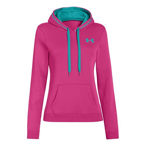 Womens Under Armour Rival Cotton Hoody Warm-Up Hooded Jackets - Fuchsia Rose S
