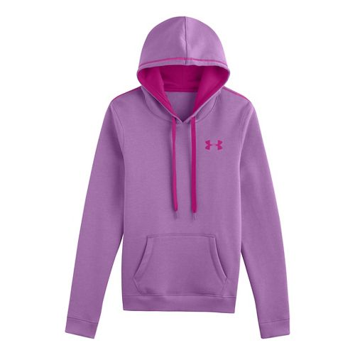 Womens Under Armour Rival Cotton Hoody Warm-Up Hooded Jackets - Lilac XL