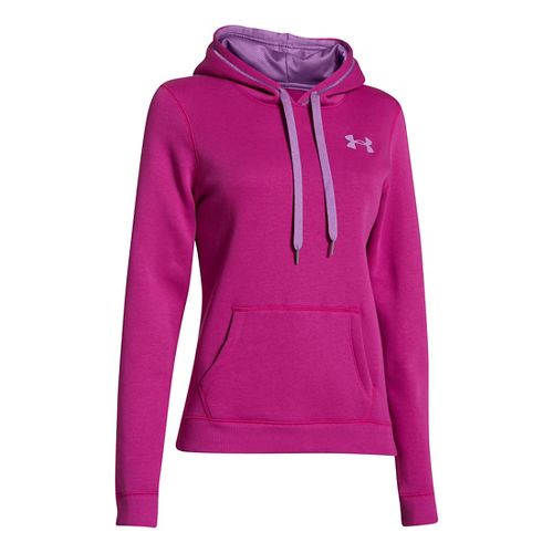 Womens Under Armour Rival Cotton Hoody Warm-Up Hooded Jackets - Magenta Shock XL