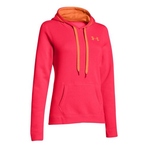 Womens Under Armour Rival Cotton Hoody Warm-Up Hooded Jackets - Neo Pulse/Citrus Blast XL