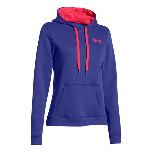 Womens Under Armour Rival Cotton Hoody Warm-Up Hooded Jackets - Siberian Iris/Neo Pulse L