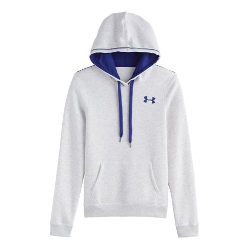 Womens Under Armour Rival Cotton Hoody Warm-Up Hooded Jackets - Silver Heather M