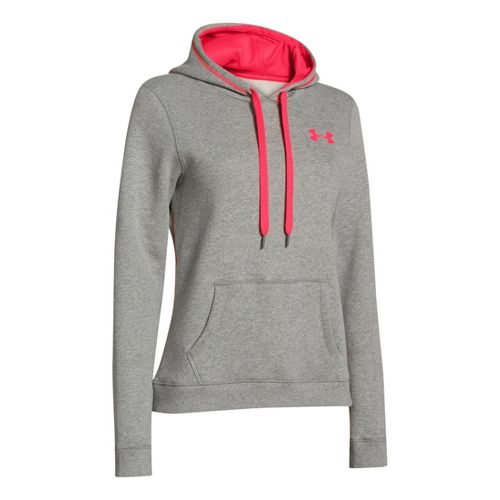 Womens Under Armour Rival Cotton Hoody Warm-Up Hooded Jackets - Warm Grey Heather/Neo Pulse M ...