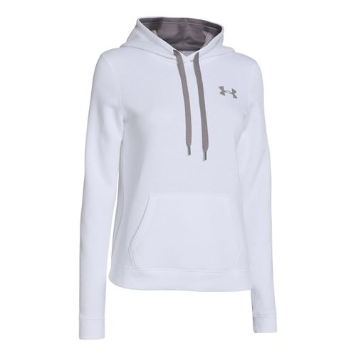 Womens Under Armour Rival Cotton Hoody Warm-Up Hooded Jackets - White XL