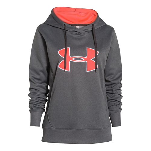 Womens Under Armour Big Logo Applique Warm-Up Hooded Jackets - Carbon/After Burn M