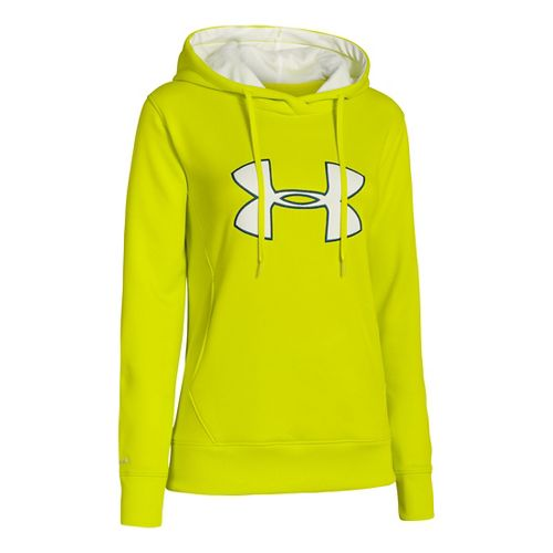 Womens Under Armour Big Logo Applique Hoody Warm-Up Hooded Jackets - Bitter L