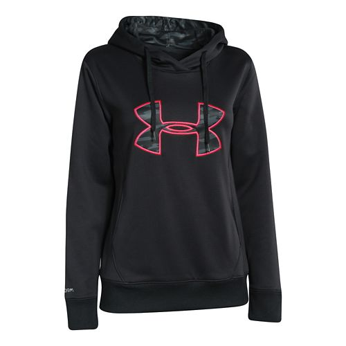 Womens Under Armour Big Logo Applique Hoody Warm-Up Hooded Jackets - Black L