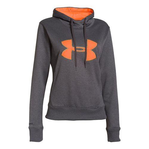 Womens Under Armour Big Logo Applique Hoody Warm-Up Hooded Jackets - Carbon Heather M