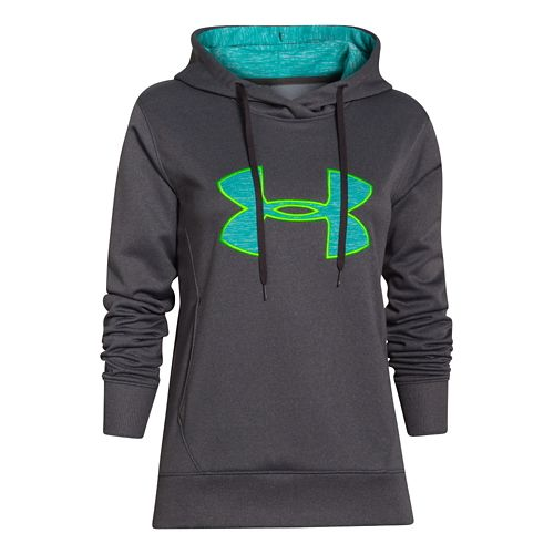 Womens Under Armour Big Logo Applique Warm-Up Hooded Jackets - Carbon Heather/Aqueduct M