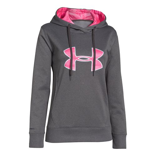 Womens Under Armour Big Logo Applique Hoody Warm-Up Hooded Jackets - Carbon Heather/Cerise L