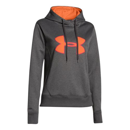 Womens Under Armour Big Logo Applique Hoody Warm-Up Hooded Jackets - Carbon Heather/Citrus ...