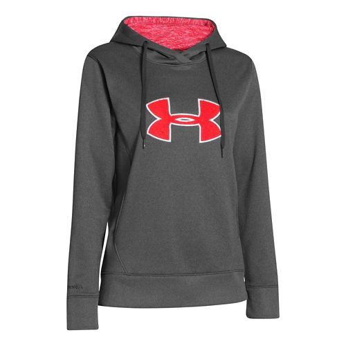 Womens Under Armour Big Logo Applique Hoody Warm-Up Hooded Jackets - Carbon Heather/Neo Pulse S ...