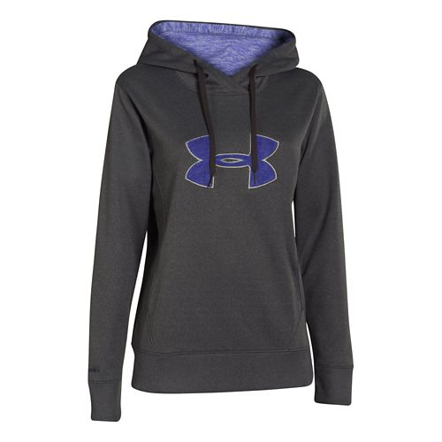 Womens Under Armour Big Logo Applique Warm-Up Hooded Jackets - Carbon Heather/Pink Sky XS