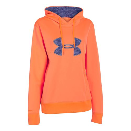 Womens Under Armour Big Logo Applique Warm-Up Hooded Jackets - Citrus Blast XL