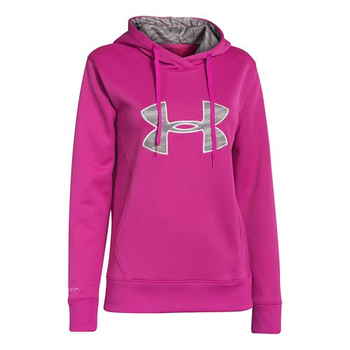 Womens Under Armour Big Logo Applique Hoody Warm-Up Hooded Jackets - Fuchsia Rose L