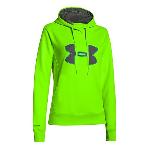 Womens Under Armour Big Logo Applique Hoody Warm-Up Hooded Jackets - Hyper Green M