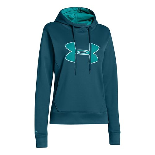 Womens Under Armour Big Logo Applique Warm-Up Hooded Jackets - Legion Blue/Aqueduct XS