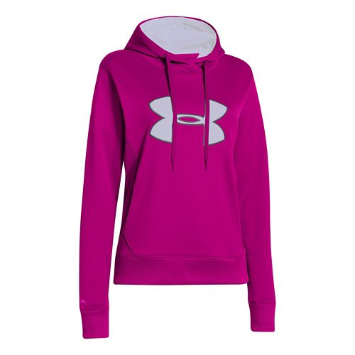Womens Under Armour Big Logo Applique Hoody Warm-Up Hooded Jackets - Magenta Shock S