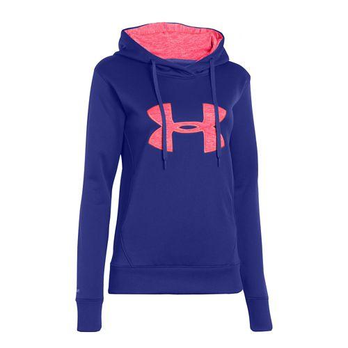 Womens Under Armour Big Logo Applique Warm-Up Hooded Jackets - Siberian Iris L