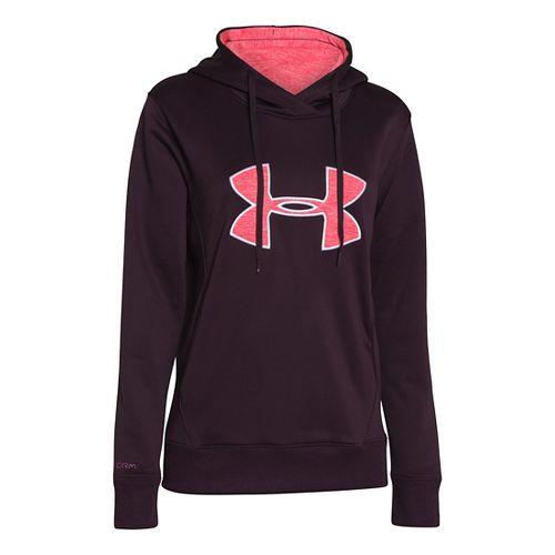 Womens Under Armour Big Logo Applique Warm-Up Hooded Jackets - Velvet Plum XS