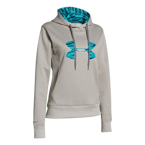 Womens Under Armour Big Logo Applique Hoody Warm-Up Hooded Jackets - Warm Grey Heather/Camo XS ...