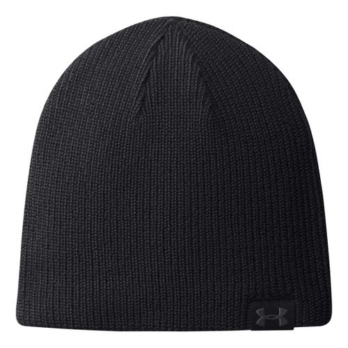 Mens Under Armour Basic Knit Beanie Headwear - Black
