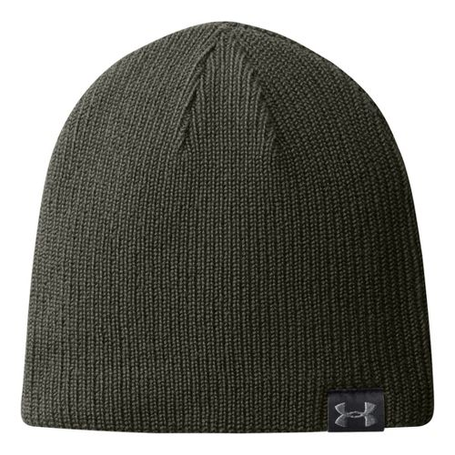 Mens Under Armour Basic Knit Beanie Headwear - Rifle Green
