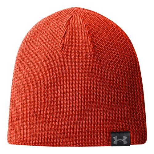 Mens Under Armour Basic Knit Beanie Headwear - Volcano