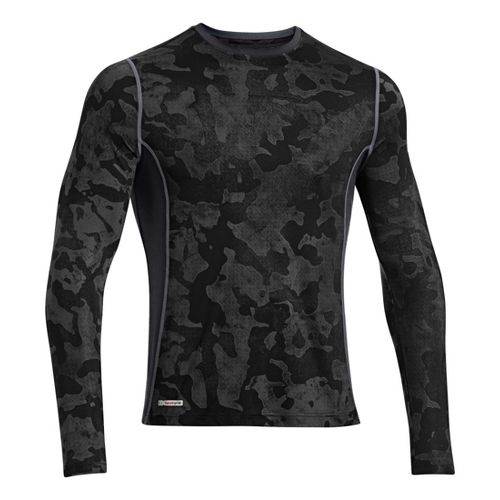 Mens Under Armour HG Sonic Fitted Printed Long Sleeve No Zip Technical Tops - Black/Steel ...