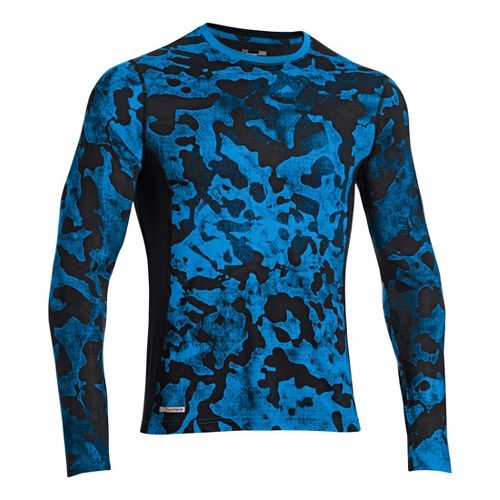 Mens Under Armour HG Sonic Fitted Printed Long Sleeve No Zip Technical Tops - Electric ...