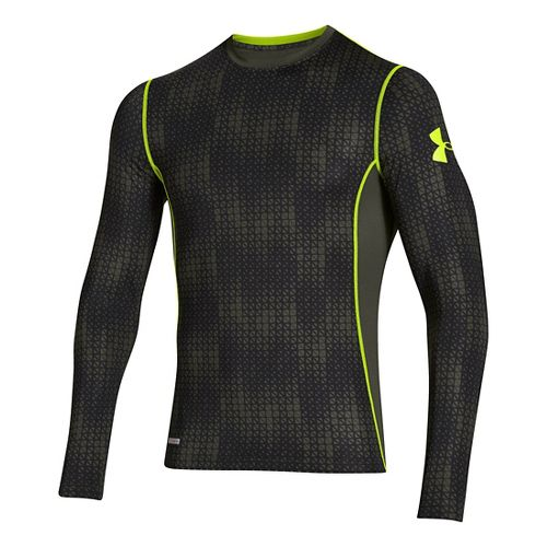 Mens Under Armour HG Sonic Fitted Printed Long Sleeve No Zip Technical Tops - Rifle ...