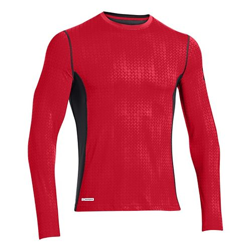 Mens Under Armour HG Sonic Fitted Printed Long Sleeve No Zip Technical Tops - Risk ...