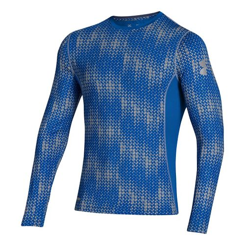 Mens Under Armour HG Sonic Fitted Printed Long Sleeve No Zip Technical Tops - Scatter/Steel ...