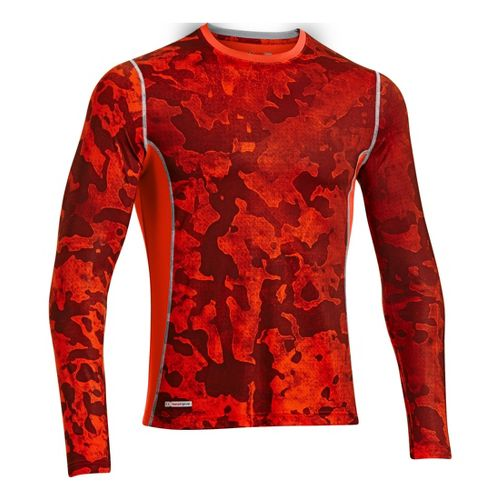 Mens Under Armour HG Sonic Fitted Printed Long Sleeve No Zip Technical Tops - Volcano/Graphite ...