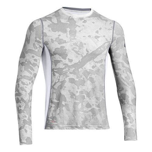 Mens Under Armour HG Sonic Fitted Printed Long Sleeve No Zip Technical Tops - White/Steel ...