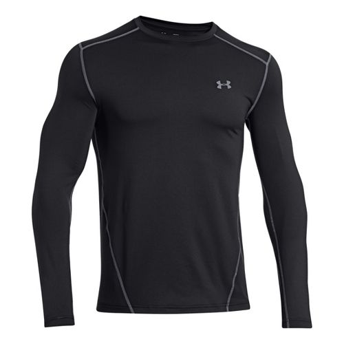Mens Under Armour Evo Coldgear Crew Long Sleeve No Zip Technical Tops - Black/Steel M ...