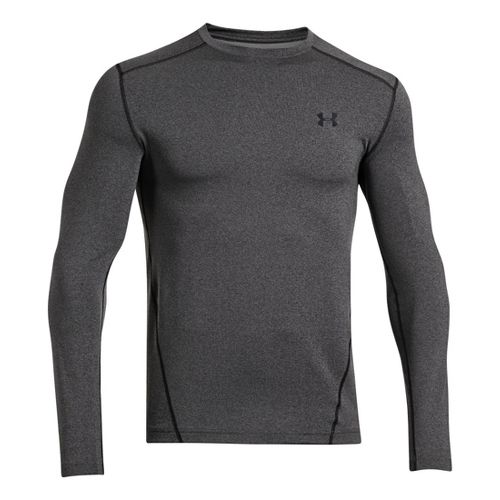 Mens Under Armour Evo Coldgear Crew Long Sleeve No Zip Technical Tops - Carbon Heather/Black ...