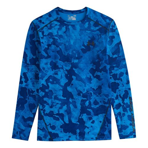 Mens Under Armour Evo Coldgear Crew Long Sleeve No Zip Technical Tops - Electric Blue/Black ...