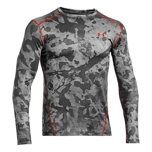 Mens Under Armour Evo Coldgear Crew Long Sleeve No Zip Technical Tops - Graphite/Volcano M ...